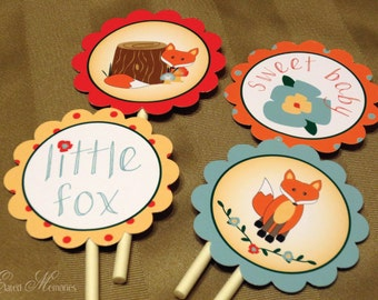 Little Fox Printable Party Squares - DIY Cupcake Toppers - Woodland Baby Shower - Autumn Blue