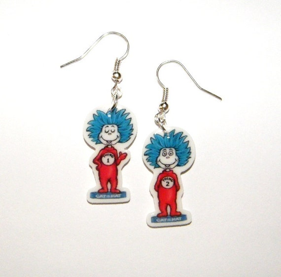 dr seuss earrings thing 1 and thing 2 novelty by murals4u