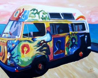 Surf Bus Series - Here Comes the Sun Surf VW Bus - Limited Edition Fine Art Print
