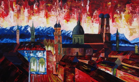 Munich, Bavaria with Alps Panorama - Limited Edition Fine Art Print