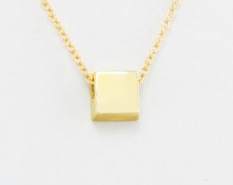 Little Geometric Square Pendant in Solid 14K Gold Minimalist