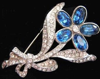 "Flower Brooch Pin Blue & Ice Clear Rhinestones Silver Metal Retro 2"" Vintage"