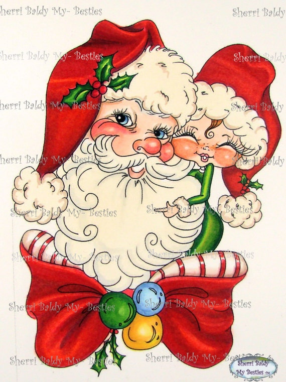 INSTANT DOWNLOAD Digital Digi Stamps  Digi Big Eye Big Head Dolls Digi  Winter Santa By Sherri Baldy