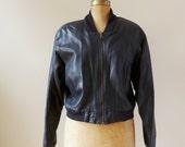 Vintage 1980's Lambskin Cropped Leather Jacket/Black Bomber Jacket/80'sBlack Lamb Leather Jacket/Size Small & Medium