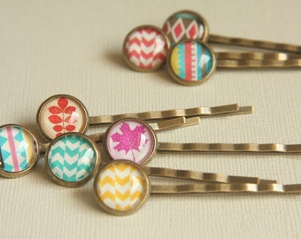 Bobby Pin Set of 2,Glass Cabochon Chevron, Yellow,Teal, Red,Pink