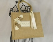 Burlap Brides Bag- Brides Tote- Ivory Themed Wedding-Ivory Bride Tote