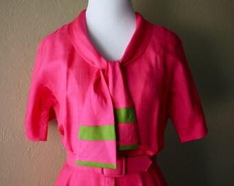 Vintage Bubblegum Pink Silk Shirtwaist Dress
