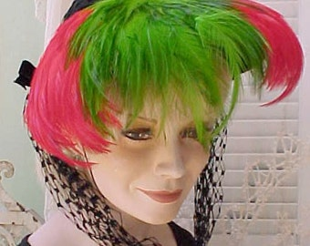 Avant Garde Vintage Hat by Barbara Charles-Bright Feathers Framing Face-Long Netting