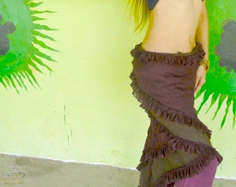Bohemian 2-Layer Lace Wrap Skirt Hip Scarf - Brown - Belly Dance / Festival