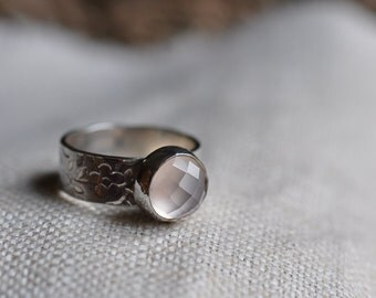 Sterling silver rose chalcedony cabochon ring, hand forged, unique, oxidized