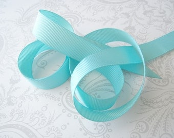 Aqua Grosgrain Ribbon 5/8in -- 3 yards -- Solid -- 16mm -- Robbins Egg