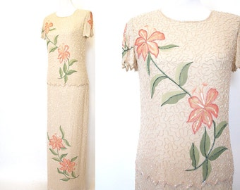 Vintage 80s 90s 20s style long floral ivory beaded flapper gown dress size small 4