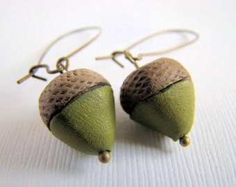 Acorn Dangle Earrings, Polymer Clay, Green, Brown, Fall, Harvest, Woodland, For her