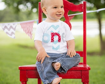 First Birthday Shirt Chevron Boys  ONE 1st Shirt One or Onesie aqua red gray  gift photo prop modern