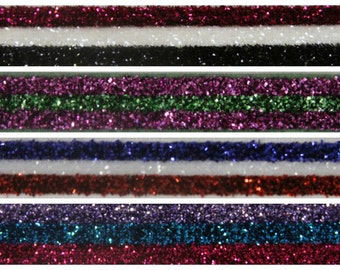 3/8th inch Stretch STRIPED glitter elastic - 5 yards - you choose color(s)