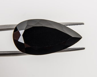 15.45 Ct Natural Black Spinel Gemstone Faceted Pear Cut Size 25x13 mm