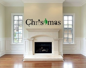 """Christmas Vinyl Wall Decal great for Front door, Entry Way, Living Room, Dining Room....Your choice of color"""""""