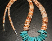 SANTO DOMINGO NECKLACE Turquoise Spiny Oyster 22in c1995