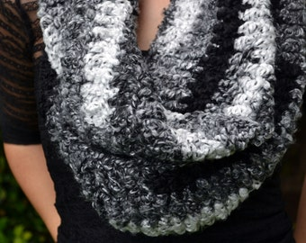 Shades of grey infinity scarf, cowl, winter cowl, crochet cowl, crochet scarf, winter scarf, loop scarf, infinity scarves, womens cowl