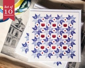 Morning Dusk greeting cards set of 10 / Pattern letter stationery set for snailmail / penpal / scrapbooking