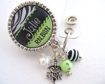 Personalized Zebra Print NURSE ID Badge Reel Badge Holders & Lanyard, Rn, Np, Lpn,  Lmt, Green Jewelry, Pull ID Clip Medical Id Badge Holder
