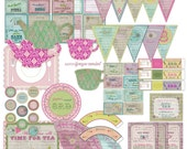 Tea Cup Birthday Party Decor Garden Decorations Girl Vintage Large Party Pack Set Package - Digital Printable card cards