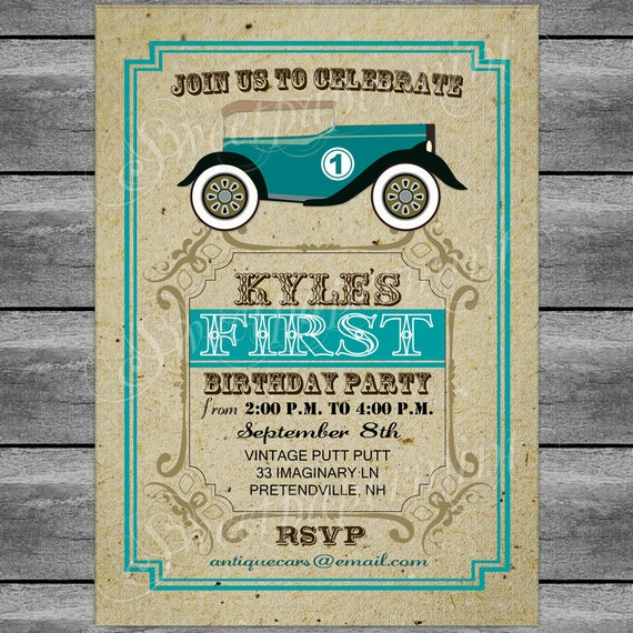 Car birthday invitation card vintage theme printable digital il570xn stopboris Choice Image