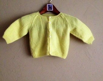Vintage Handmade Yellow Sweater  0-12 Months