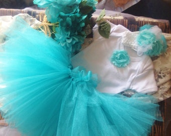 Baby Girl Wedding or Special Occasion Blue TuTu Set Photo Prop Headband Size Newborn 0-3 months 3-6 months 6-9 months