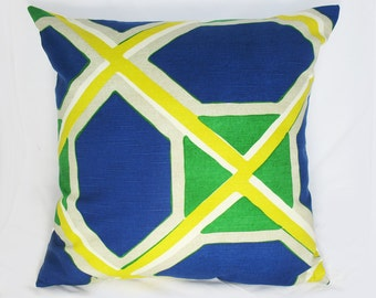 Robert Allen - Decorative Pillow Cushion Cover - Accent Pillow - Throw Pillow - Water Color - Ultramarine - Blue, Yellow, Green