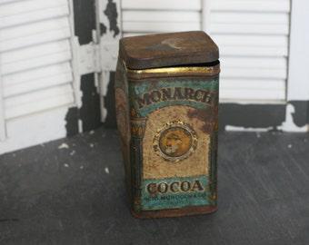 FINAL SALE - monarch cocoa tin, antique cocoa tin, antique tin, rustic decor