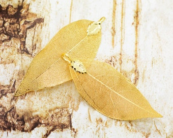 1 - REAL Nature Walnut Tree Leaf Pendant dipped in 24k GOLD Plated REAL Filigree Leaf Charm Vintage Style Pendant  Jewelry Supplies (DA178)