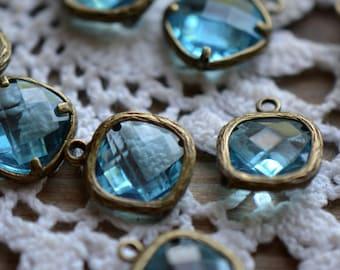 Square Jewel Charms AQUAMARINE Drop Gem Jewels Square 12mm Antique Bronze Plated Brass Bezel Aqua Blue (AW035)