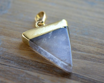 1 - Triangle Crystal Quartz Pendant Dipped 24K Gold Plating 30mm Flag Gemstone Jewelry Making Supplies (R011)