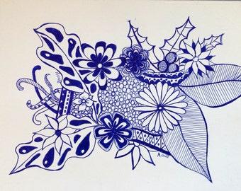Original Blue Ink pen flower doodle drawing 3