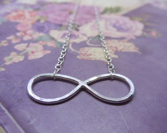 Silver Infinity Necklace - Solid Sterling Silver 925 Eternity Karma Forever Friendship Bridesmaid Necklace Handmade