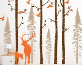 Birch and Fir Tree Wall Decal with Birds and Elk, Birch and Fir Forest, Birch Trees Wall Decal for Birch Nursery, Kids or Childrens Room 021