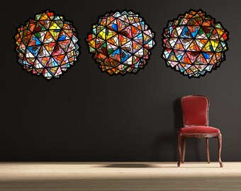 multilcolor geometric origami ball- set of 3 large size- fabric wall decal