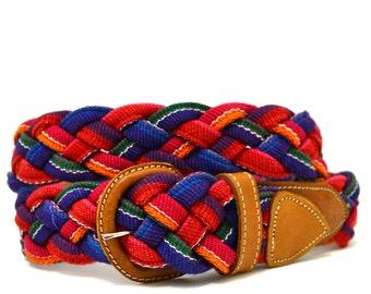 Vintage Ethnic Woven Belt M Vtg Braided Brown Leather Belt Medium