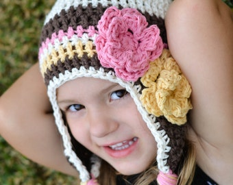 girls earflap hat, toddler girl hat, baby hat, girls hat, crochet girls hat, kids hat, earflap hat