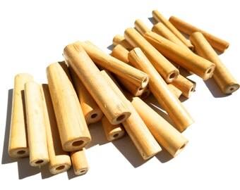 SUPPLY: 50 Natural Distressed Bamboo Tube Beads - Wood Beads - SKU OS6-55