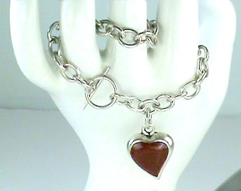 Red Heart 925 Sterling Taxco Chunky Chain Bracelet, 925 Jasper Heart Bracelet, Dog Chain Style Red Heart Bracelet, Chunky 925 Chained Heart