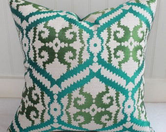 IN STOCK / Green, Teal and Ivory Ikat Pillow Cover / 18 X 18 / Designer Pillow Cover