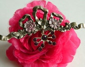 Pretty Antique Inspired Art Nouveau Style Bow Brooch with Floral Details & Rhinestones- Purple Silver Dangle Classic Long Garden