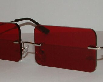 Red rectangle cosplay costume glasses V3