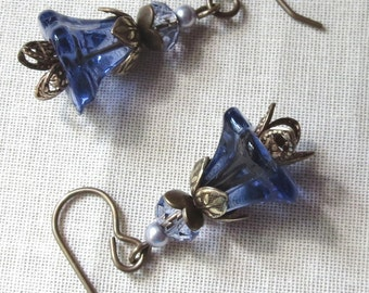 Tanzanite Glass, Crystal and Polished Natural Brass Flower Earrings