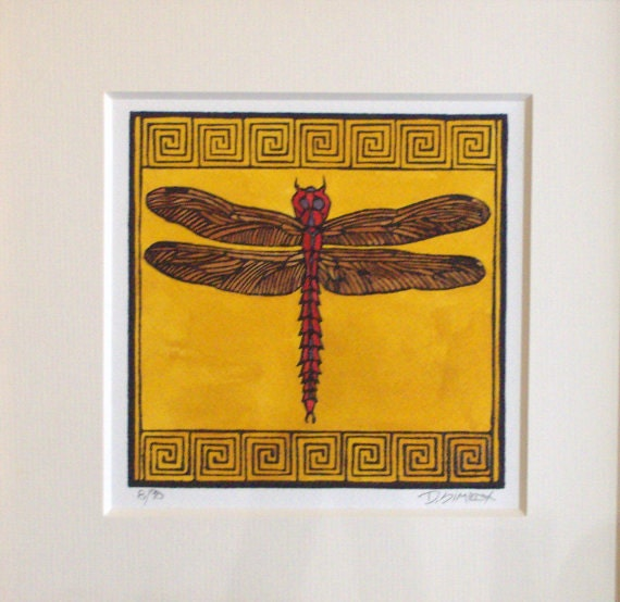 Craftsman dragonfly block print small art by prairiebungalow for Mission style prints
