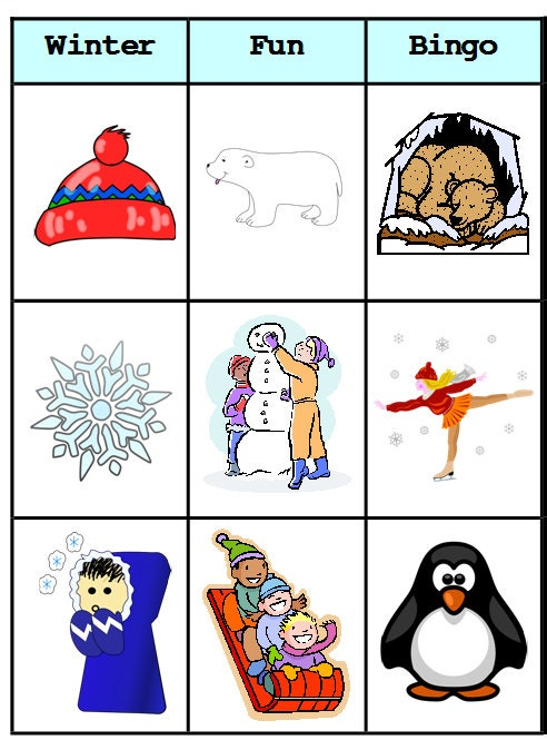 This is an image of Wild Winter Bingo Cards Free Printable