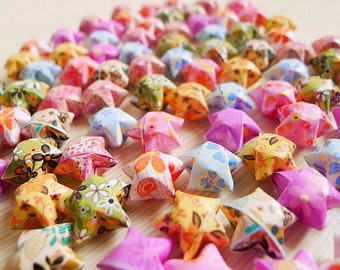 100 Cute Origami Lucky Stars Mixed Flower Patterns