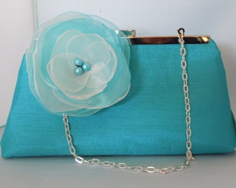Turquoise Blue Clutch for Weddings, Brides, Mothers of the Bride Groom, Proms
